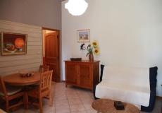 Le salon salle à manger ouvert sur la terrasse.